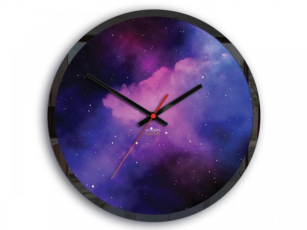 Nástěnné hodiny Galaxy fialové