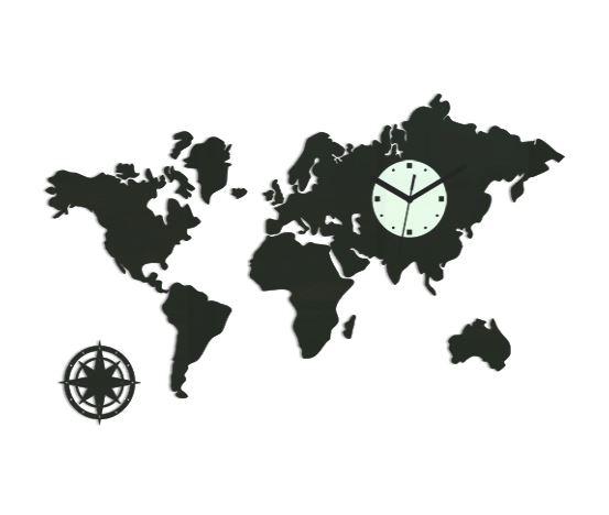 3D nalepovací hodiny Continents wenge