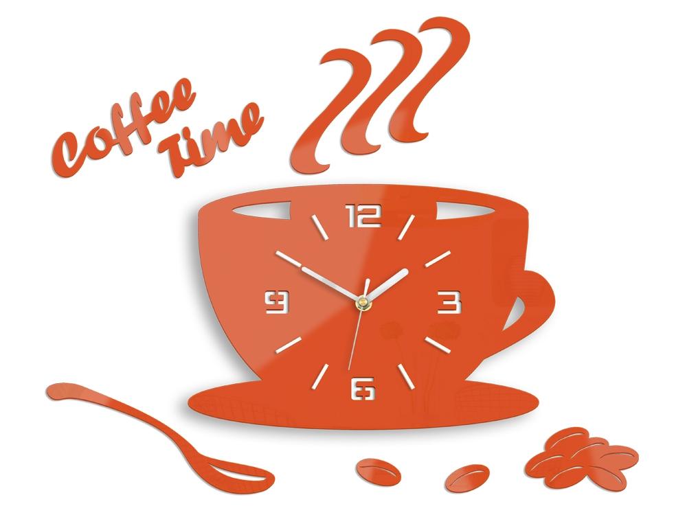 Nástěnné hodiny Coffee oranžové