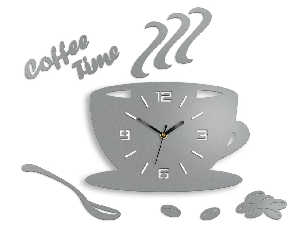 Nástěnné hodiny Coffee světle šedé