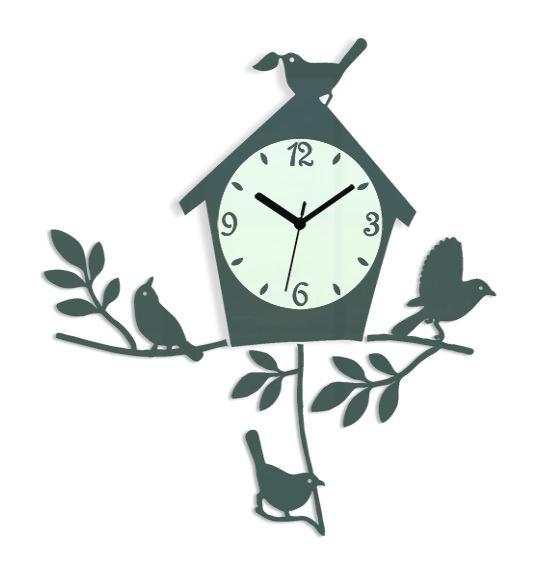 Nástěnné hodiny Birds šedé