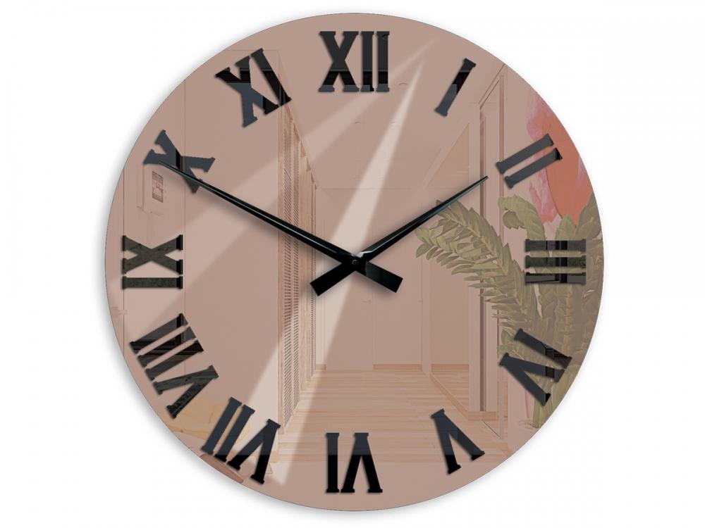 Nástěnné hodiny Mirror hnědé