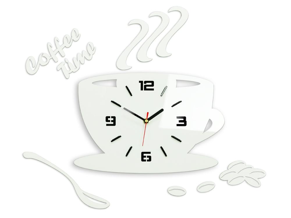 Nástěnné hodiny Coffee bílé