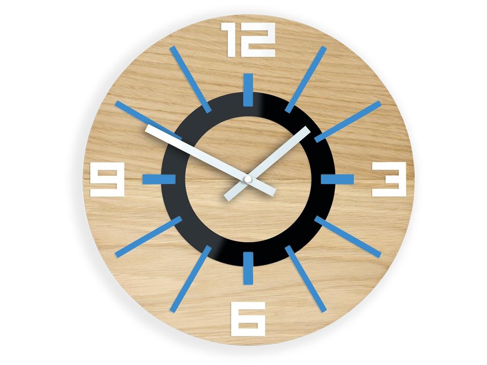 Nástěnné hodiny Alladyn Wood hnědo-modré