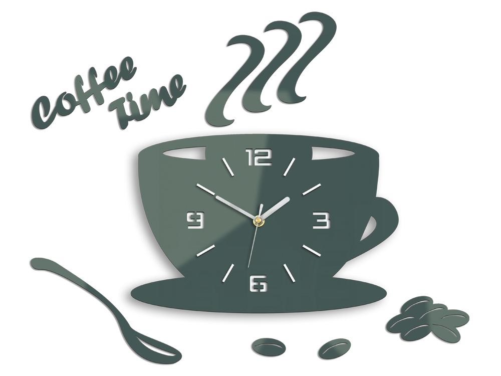 Nástěnné hodiny Coffee šedé