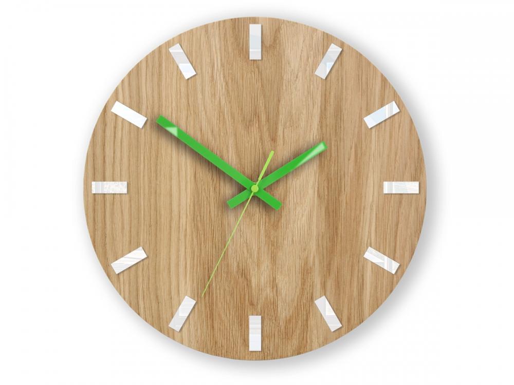 Nástěnné hodiny Simple Oak hnědo-zelené