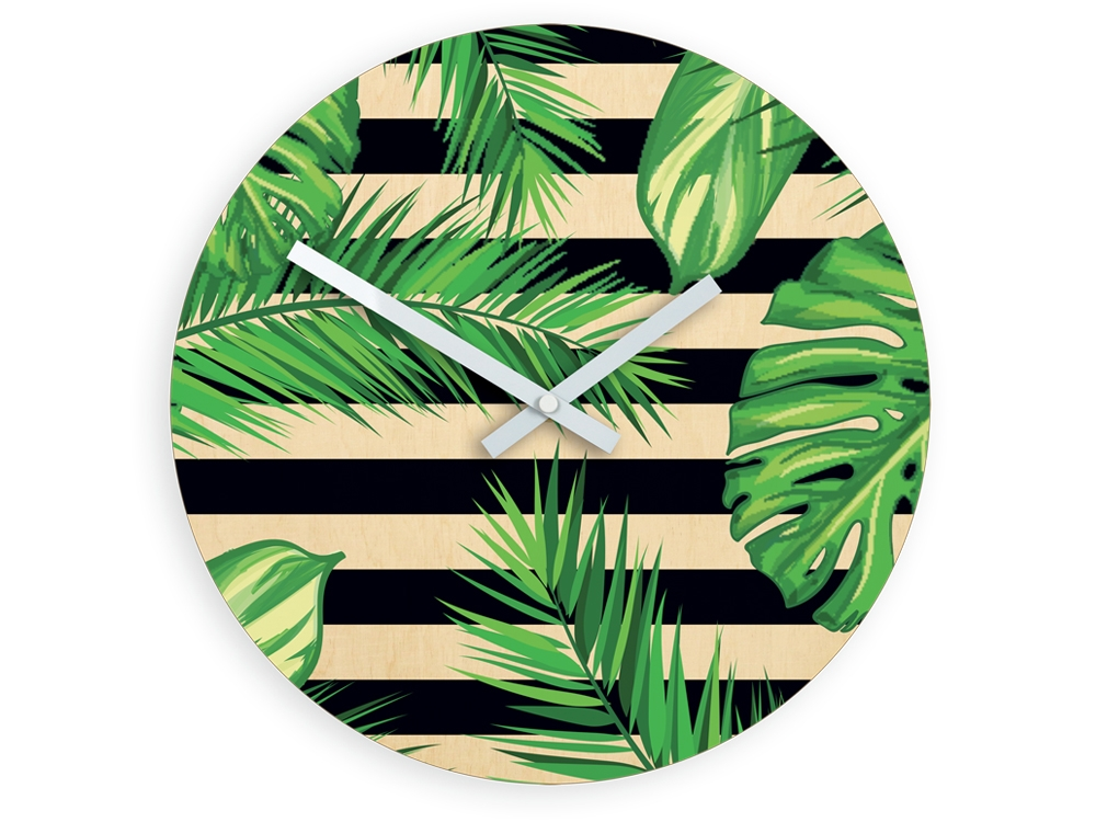 Nástěnné hodiny Tropical černo-zelené