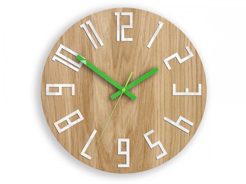 Nástěnné hodiny Slim hnědo-zelené