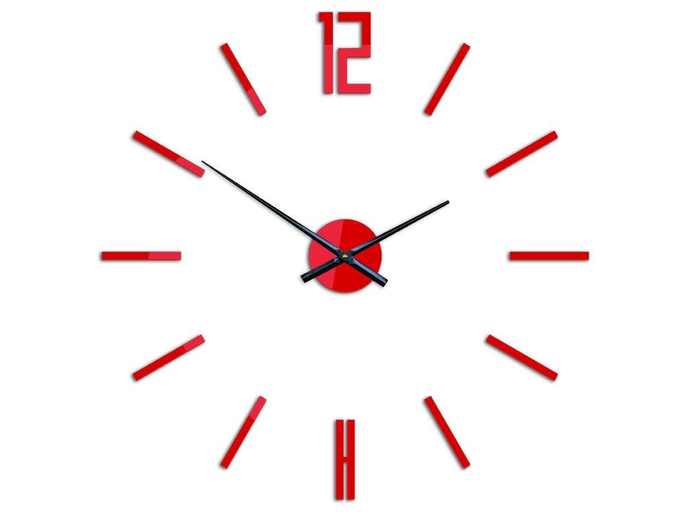 3D nalepovacie hodiny Carlo červené