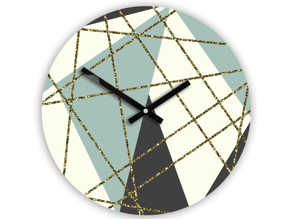 Nástěnné hodiny Geometric modro-bílé