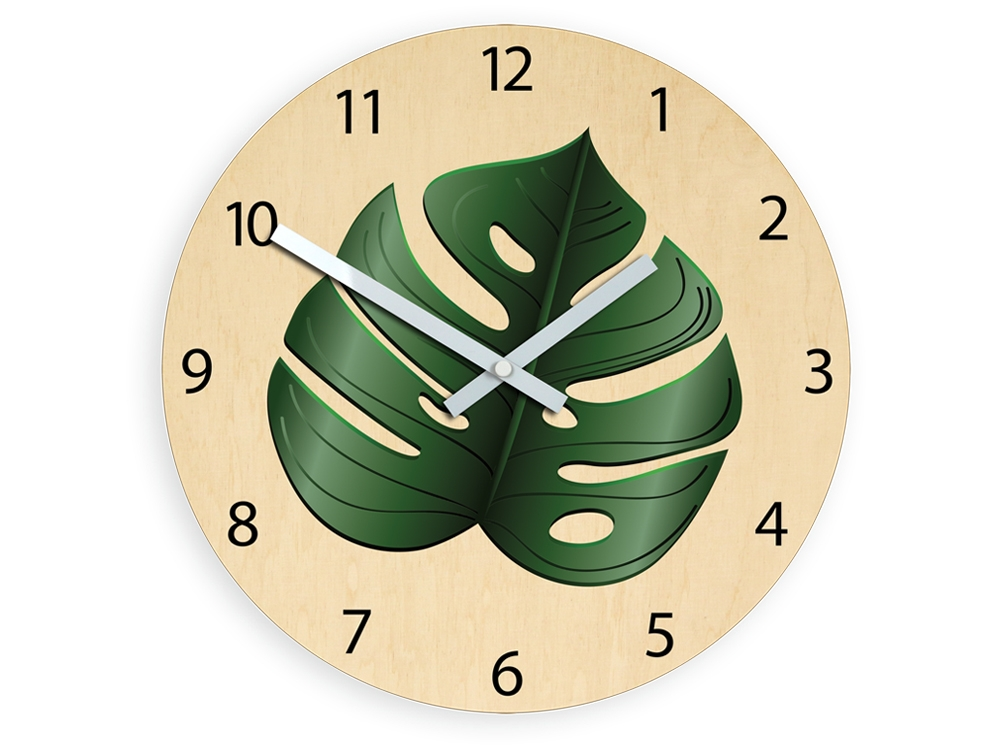 Nástěnné hodiny Sheet hnědo-zelené