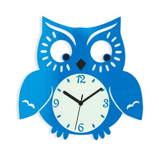 Nástenné hodiny Owl modré