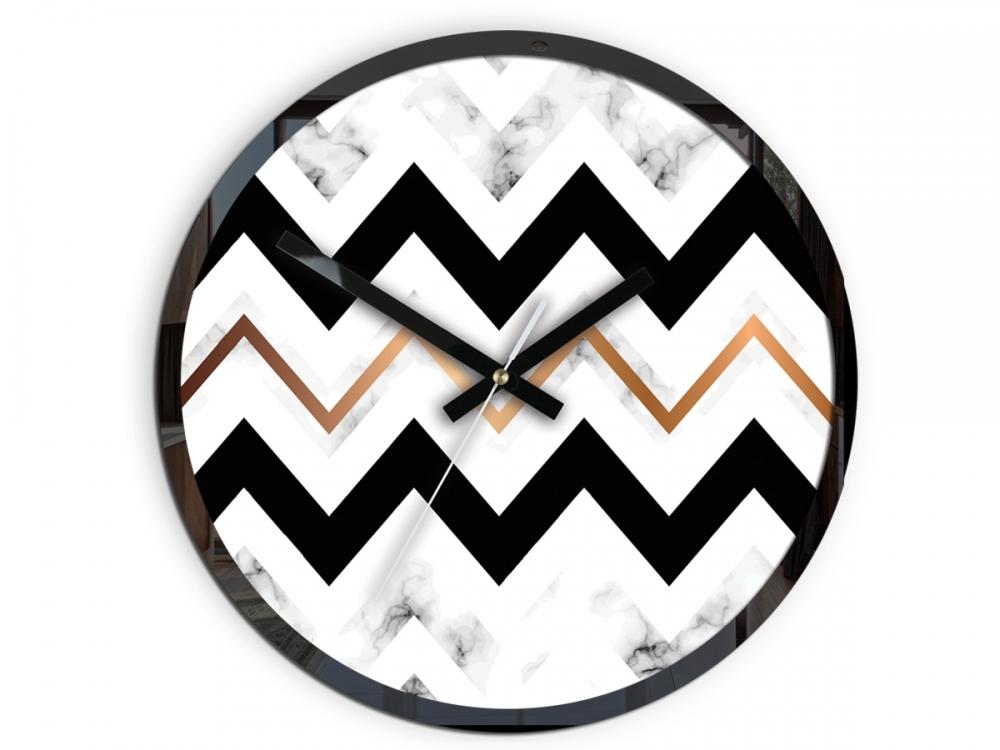 Nástěnné hodiny Marble černo-bílé