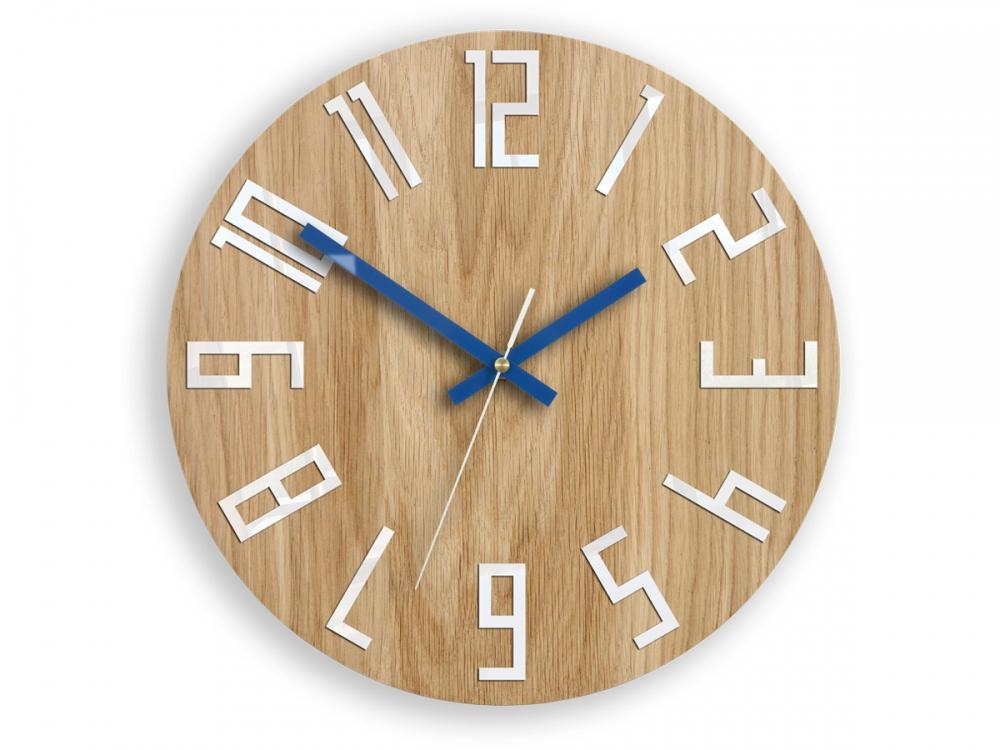 Nástěnné hodiny Slim hnědo-modré