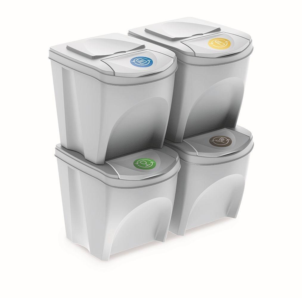Sada odpadkových košů 4x25 L DEILA bílá