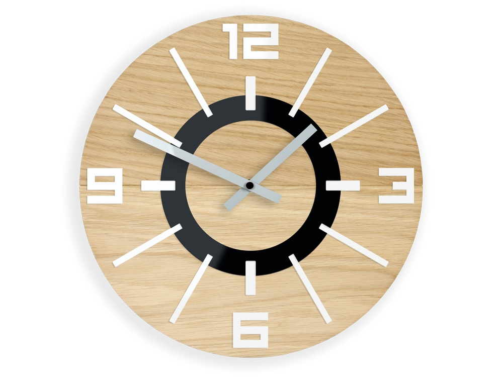 Nástěnné hodiny Alladyn Wood hnědé