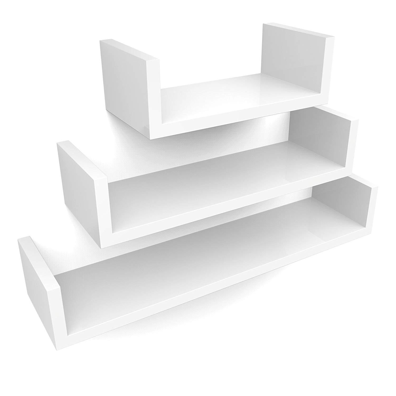 Nástěnné poličky Eia bílé - 3 kusy