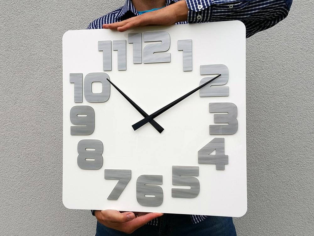 Nástěnné hodiny Logic bílo-šedé 49cm