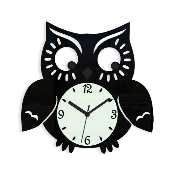 Nástenné hodiny Owl čierne