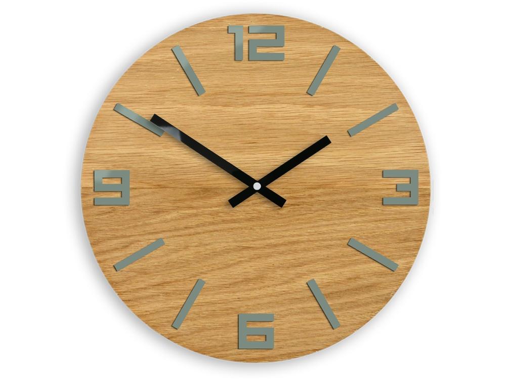 Nástěnné hodiny Arabic Wood hnědo-šedé