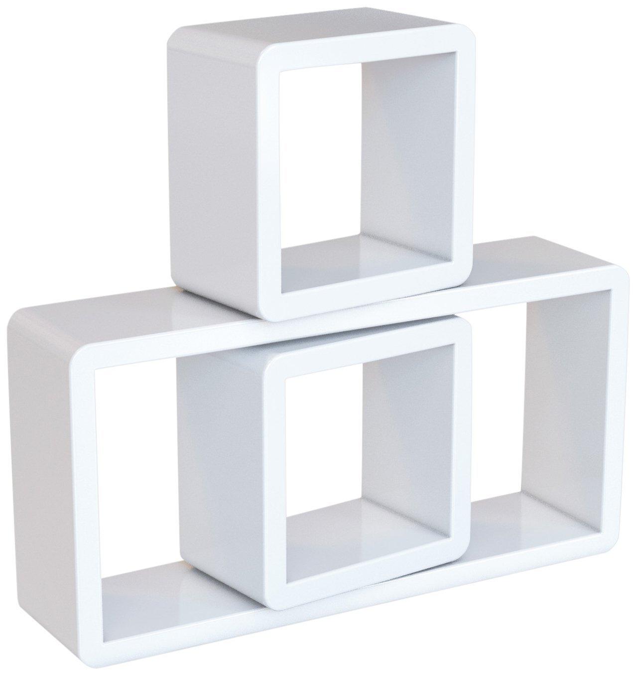 Nástěnné poličky Uana bílé - 3 kusy