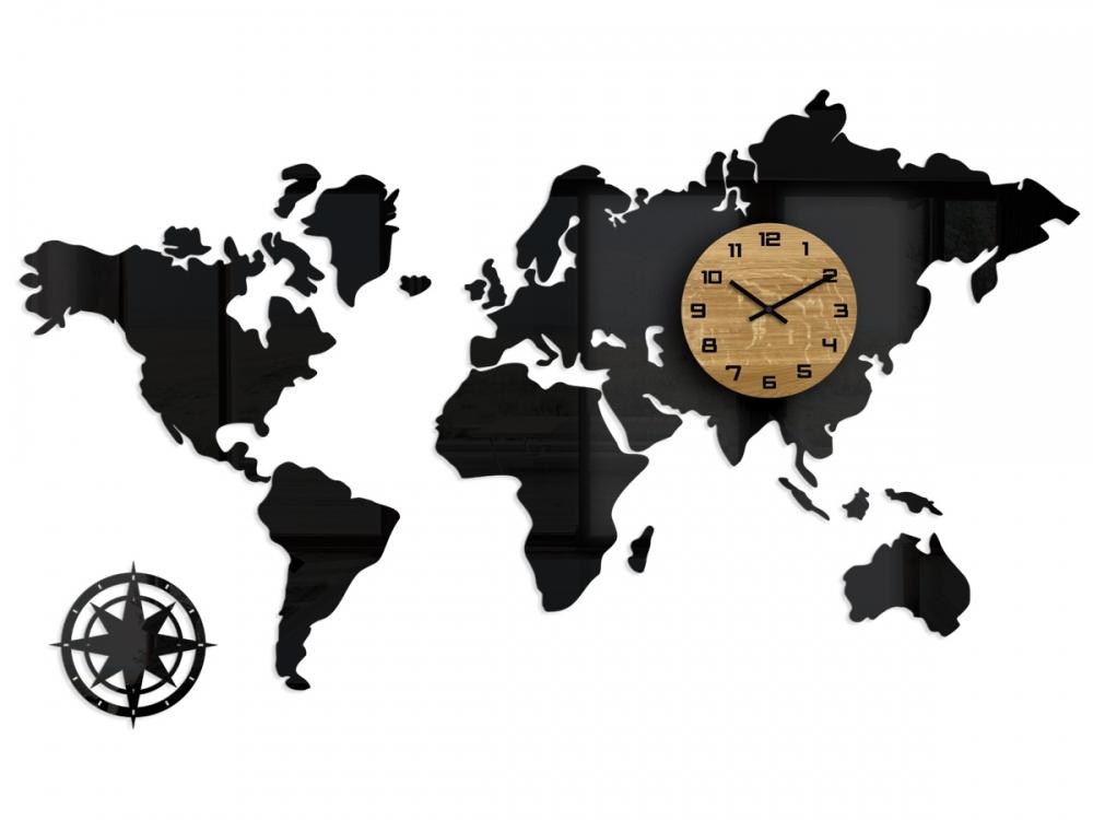 3D nalepovacie hodiny Continents čierne