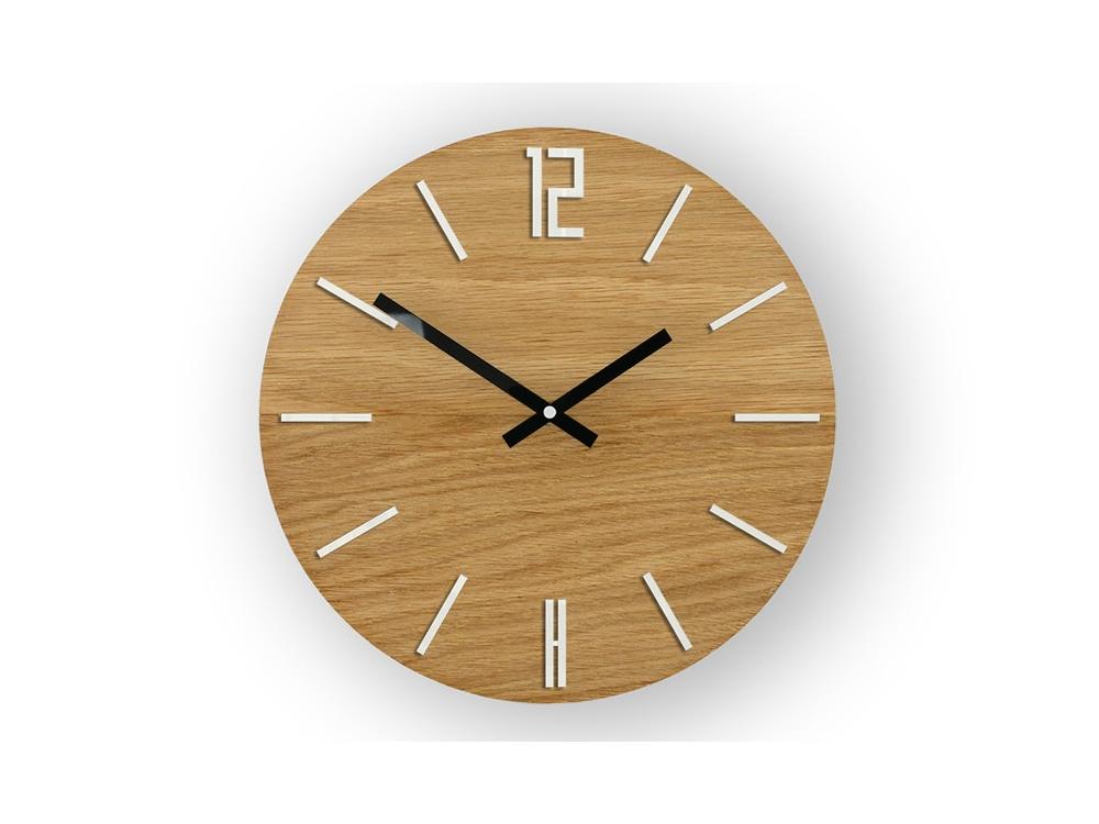 Nástěnné hodiny Carlo Wood hnědo-bílé