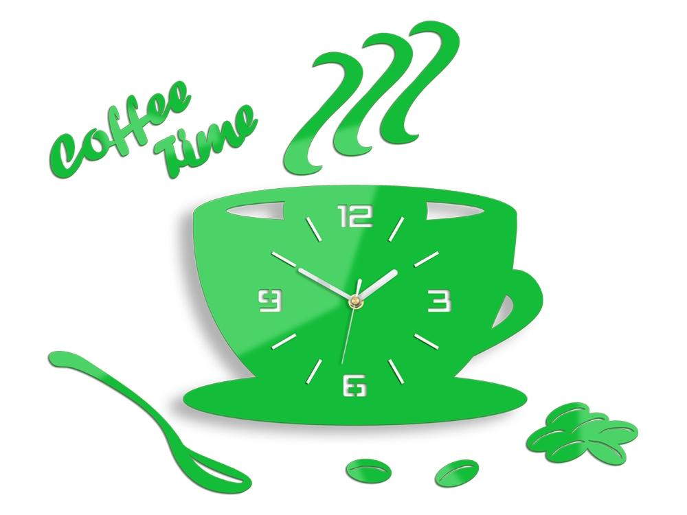 Nástěnné hodiny Coffee zelené