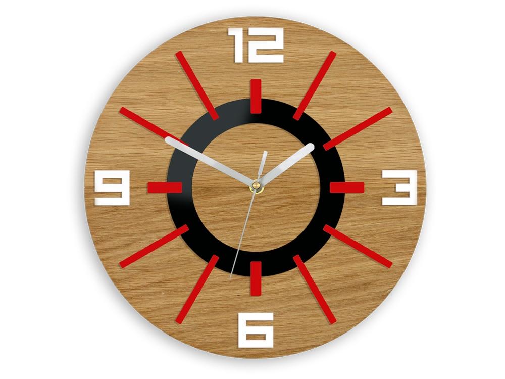 Nástěnné hodiny Alladyn Wood červeno-černé