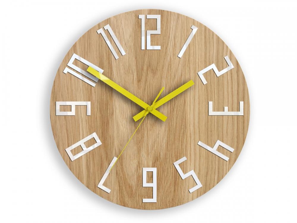 Nástenné hodiny Slim hnedo-žlté