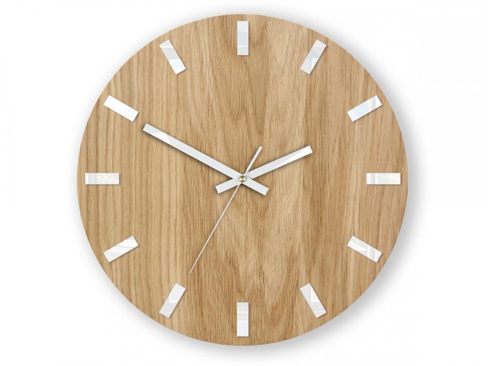 Nástěnné hodiny Simple Oak hnědo-bílé