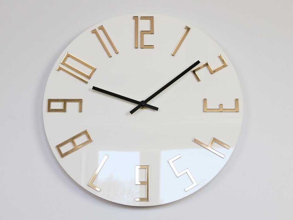 Nástěnné hodiny Slim Gold bílé