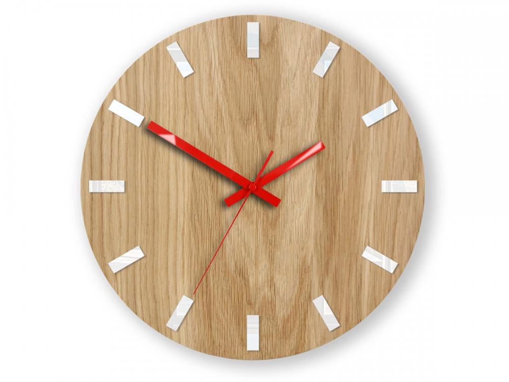 Nástěnné hodiny Simple Oak hnědo-červené