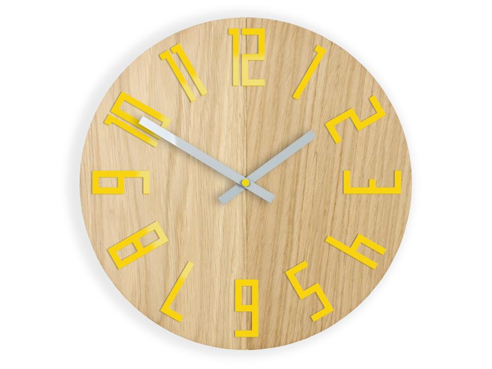 Nástenné hodiny Drevo hnedo-žlté