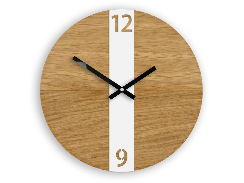 Nástěnné hodiny Oak Belt hnědo-bílé