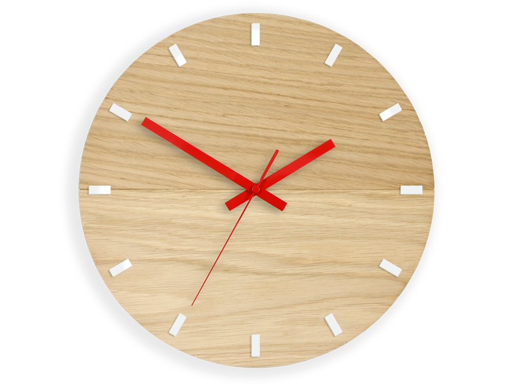 Nástěnné hodiny Solo Wood hnědo-červené