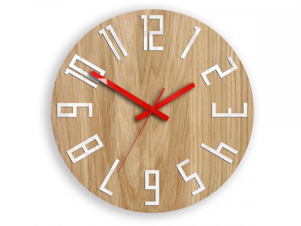 Nástěnné hodiny Slim Mit hnědo-červené