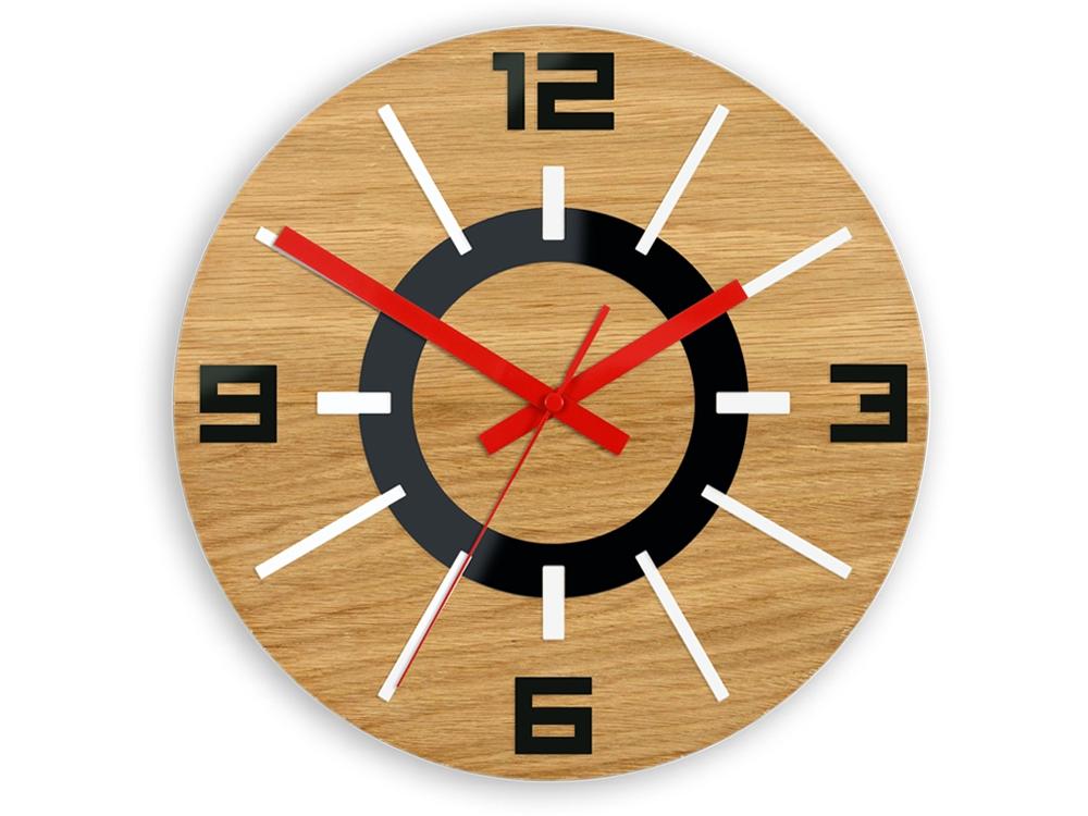 Nástěnné hodiny Alladyn Wood hnědo-červené